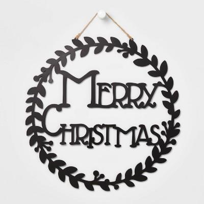 Merry Christmas Black Round Wall Sign - Wondershop™