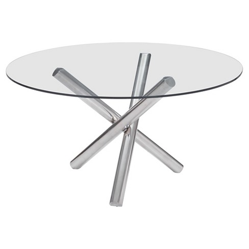 Modern 54 Round Tempered Gl And Chrome Stainless Steel Dining Table Zm Home Target