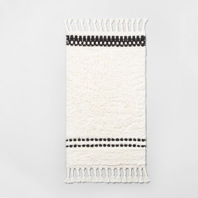 "20"" x 32"" Stripe Bath Rug with Fringe Black / White - Hearth & Hand™ with Magnolia"
