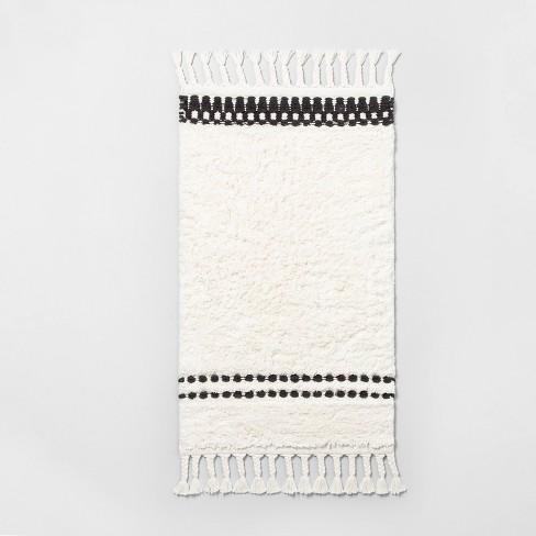 Stripe Bath Rug with Fringe White/Black - Hearth & Hand™ with Magnolia - image 1 of 4