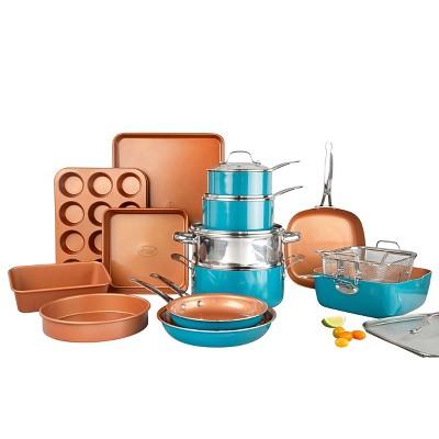 Gotham Steel Ti-cerama 20pc Cookware/Bakeware Set - Turquoise
