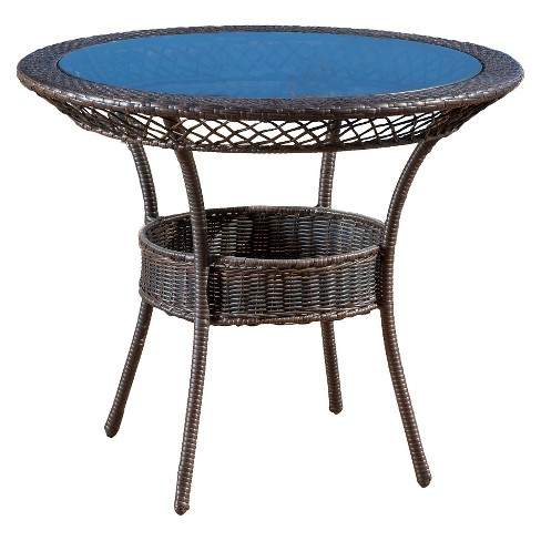 "Figi 34"" Round Wicker and Glass Table - Multi Brown - Christopher Knight Home - image 1 of 5"