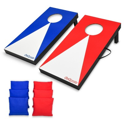 GoSports Portable Junior Size Cornhole Game Set with 6 Bean Bags, and Rules, Classic Edition, Red and Blue