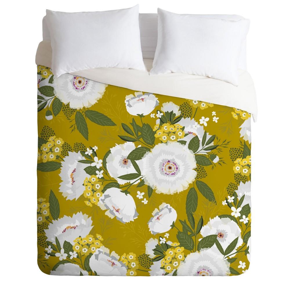 Full/Queen Eta Abolina Fleurette Midday Duvet Set Yellow - Deny Designs