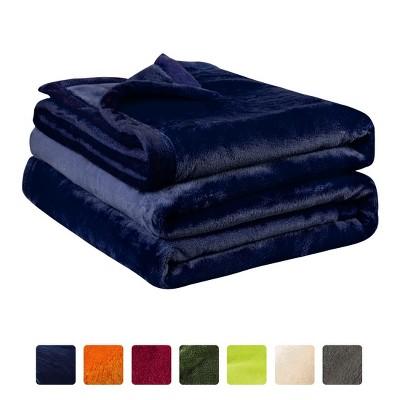 1 Pc Queen Microfiber Flannel Fleece Bed Blankets Navy Blue  - PiccoCasa