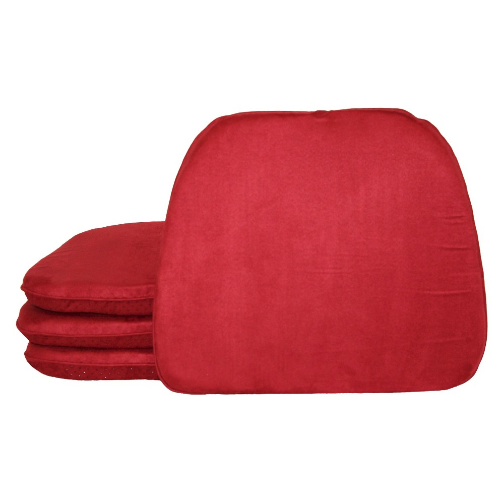 Image of Deep Red Brentwood Faux Suede Chairpad (4 Pack)