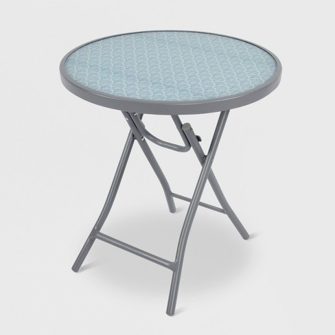 Folding Patio Accent Table Blue Scallop - Threshold™ - image 1 of 2