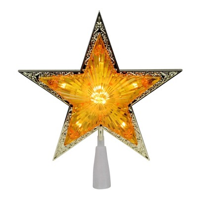 "Northlight 9"" Pre-Lit Gold and Amber Crystal 5 Point Star Christmas Tree Topper - Clear Lights"