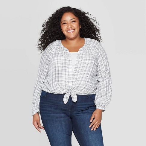Women's Plus Size Long Sleeve Crewneck Button-Front Peasant Top - Universal Thread™ White - image 1 of 3