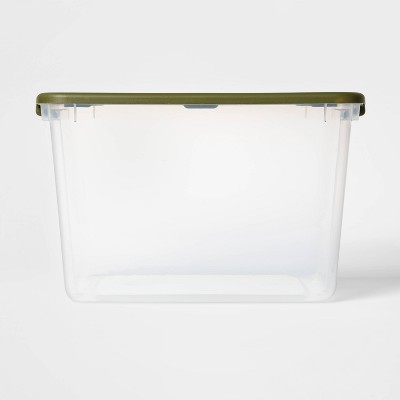 66qt Latching Clear Storage Box with Green Lid - Room Essentials™
