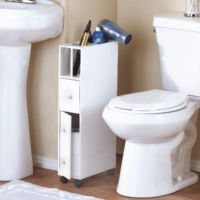 Lakeside Slender Space-Saving Bathroom Organizer Cabinet with Top Openings