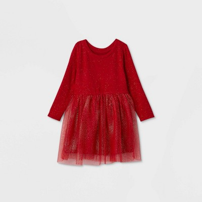 Toddler Girls' Cozy Sparkle Tulle Long Sleeve Dress - Cat & Jack™ Red
