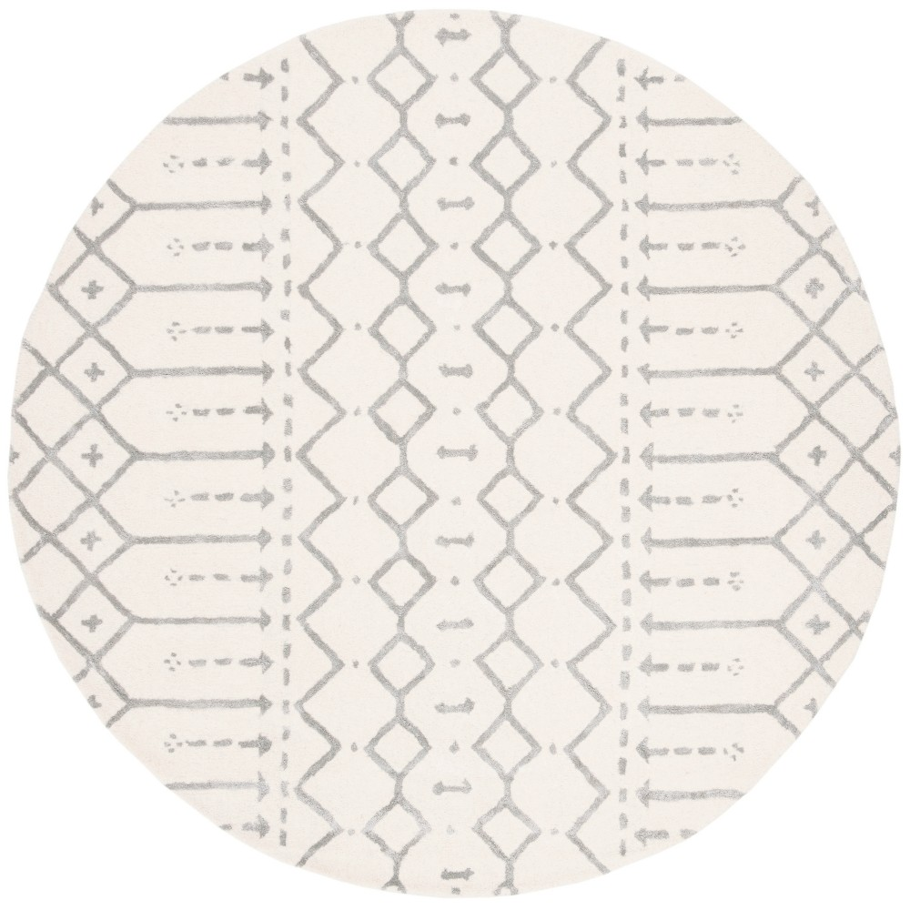 6' Tribal Design Tufted Round Area Rug Ivory/Gray - Safavieh