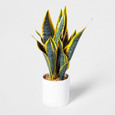 "16.5"" x 6"" Artificial Snake Plant In Pot White - Project 62™"