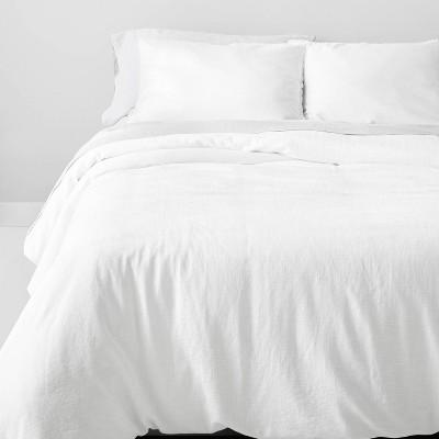 Full/Queen Heavyweight Linen Blend Comforter & Sham Set White - Casaluna™