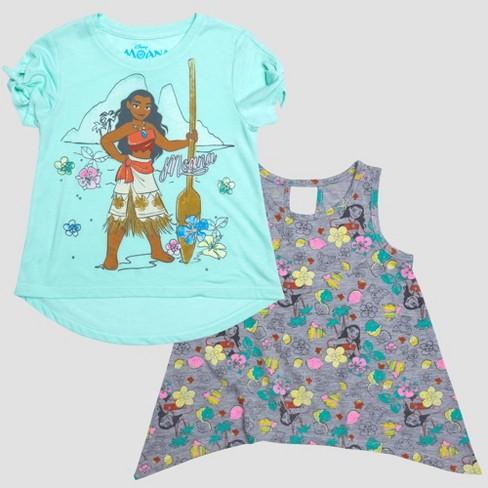 ad3e2774 Toddler Girls' Pretty Moana Short Sleeve T-Shirt and Tank Set - Crystal Aqua