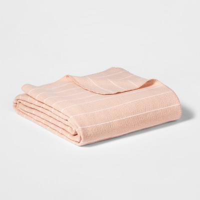 King Modern Acrylic Striped Bed Blanket Pink - Project 62™ + Nate Berkus™