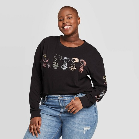 Women's Peanuts Plus Size Long Sleeve Graphic T-Shirt (Juniors') - Black - image 1 of 2
