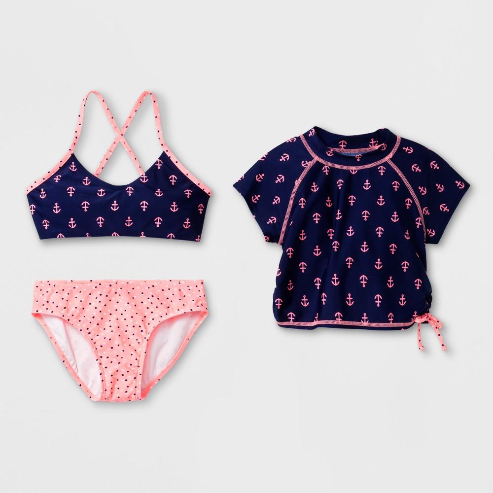 Girls' Cruisin Cutie Bikini with Rash Guard Set - Cat & Jack Navy XL, Blue