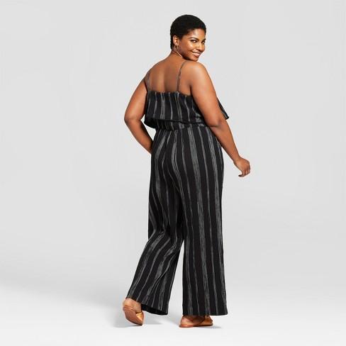 e26135c8c15 Women s Plus Size Striped Jumpsuit - A New Day™ Black White 3X   Target