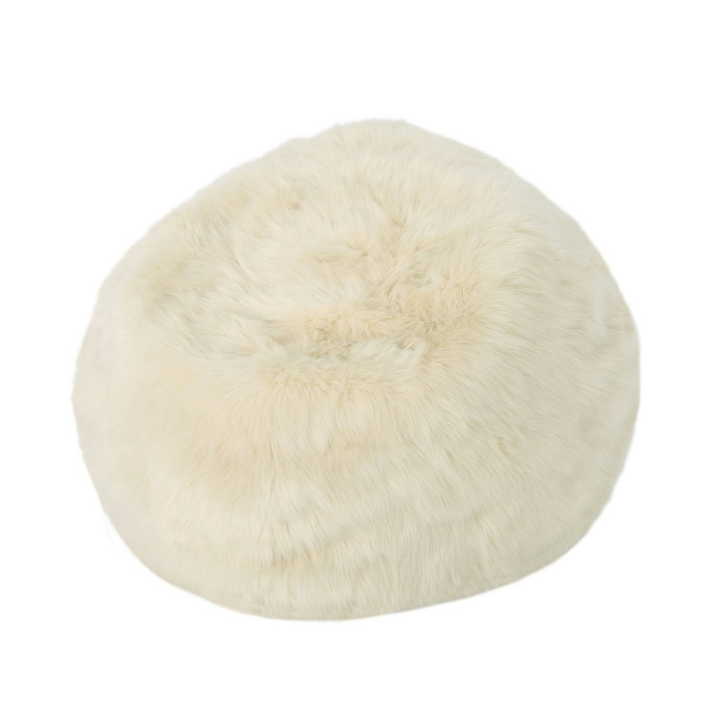 "Image of ""3"""" Leeson Faux Fur Bean Bag Taupe - Christopher Knight Home"""
