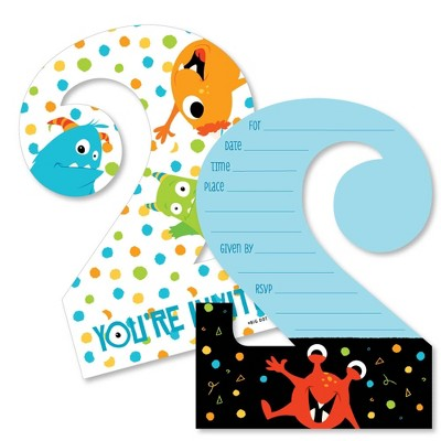 Big Dot of Happiness 2nd Birthday Monster Bash - Shaped Fill-in Invites - Little Monster Second Birthday Party Invite Cards with Envelopes - Set of 12
