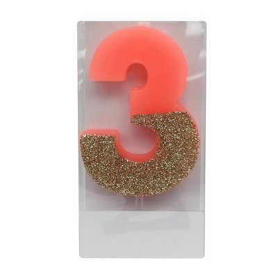 Number 3 Glitter Candle - Spritz™