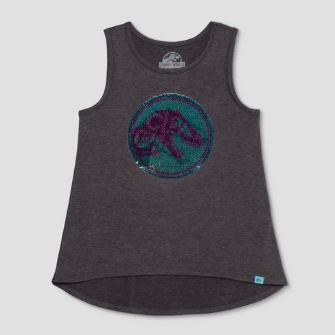 Girls' Jurassic World Flip Sequin Tank Top - Charcoal Heather - image 1 of 3