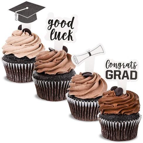 Blue Panda 100 Pack Congrats Grad Cupcake Toppers Picks Cake Decor, 2021 Graduation Party Supplies Decorations - image 1 of 4