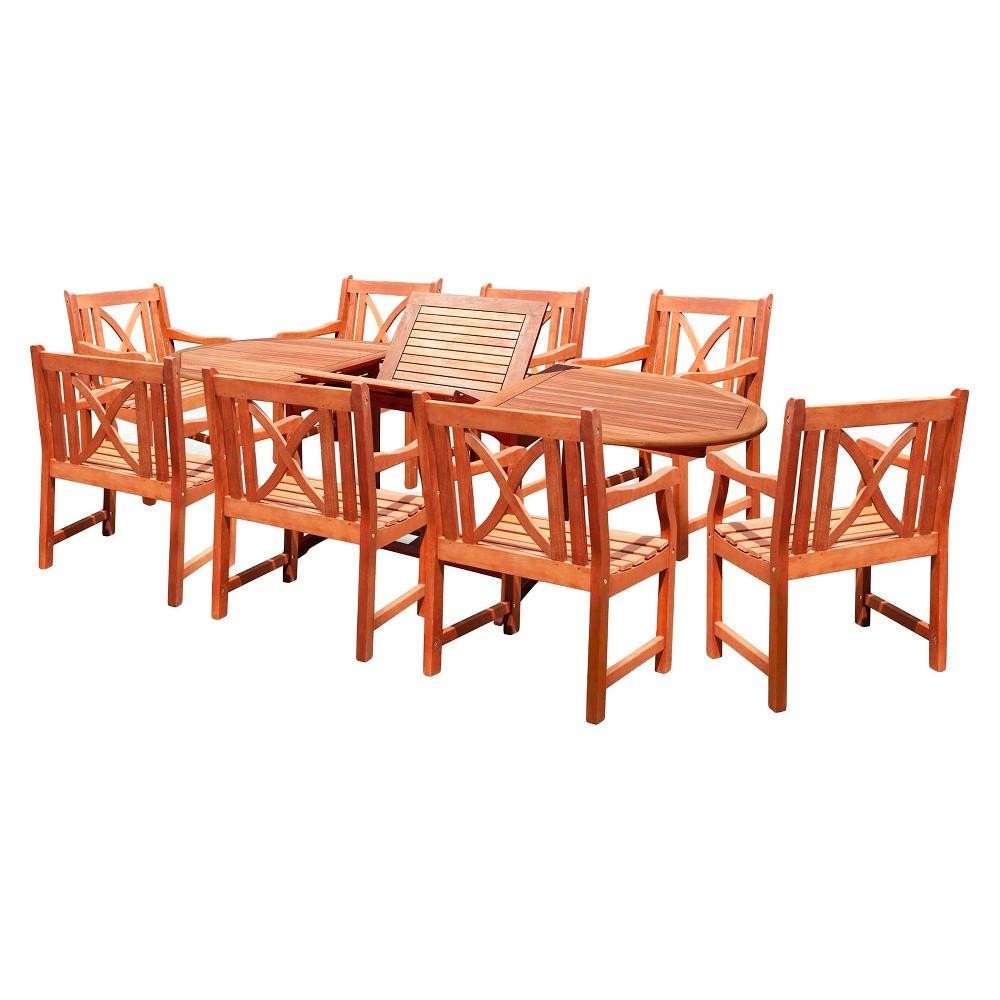 9pc Oval Patio Dining Set - Brown - Vifah