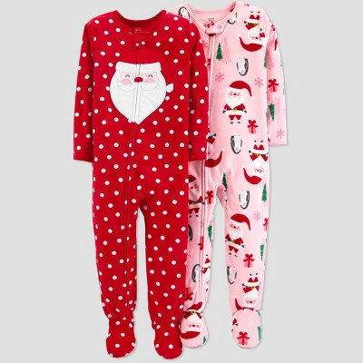 Baby Girls' Fleece Dot Santa Pajama Set - Just One You® made by carter's Red 12M