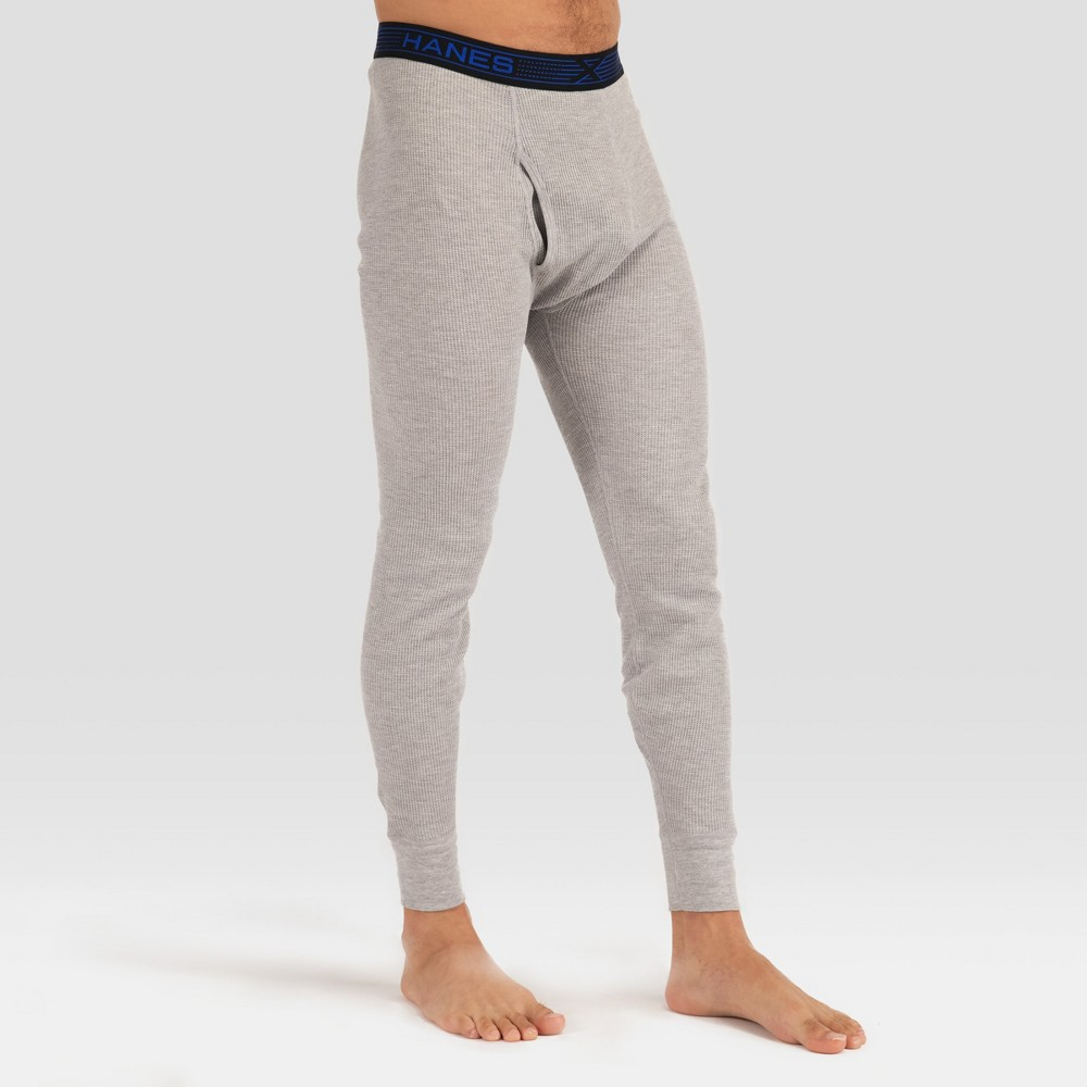 Hanes Premium Men's Xtemp with Fresh IQ Thermal Pants - Gray L