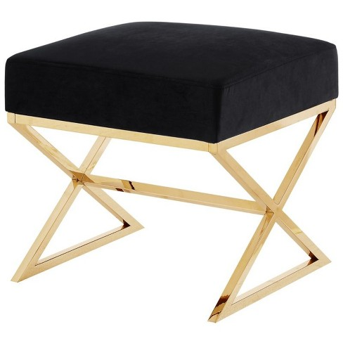 Cool Colin Black Velvet Upholstered Ottoman Stainless Steel Gold Legs In Black Posh Living Bralicious Painted Fabric Chair Ideas Braliciousco