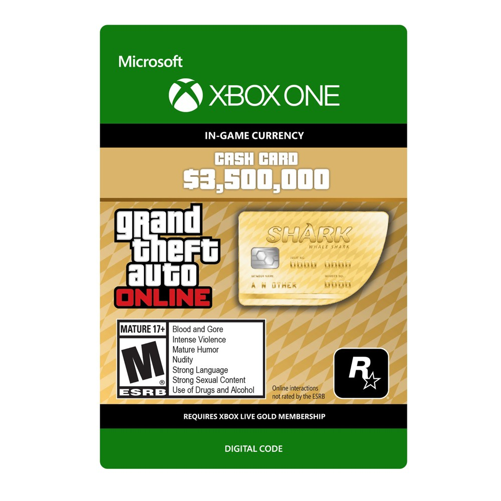 Grand Theft Auto Online: Whale Shark Card - Xbox One (Digital) How download codes work: You'll receive an email with a download code and instructions on how to redeem your purchase directly on your console or online through your console's website.