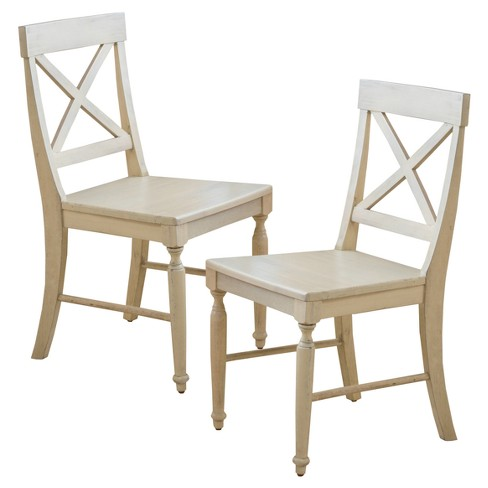 About this item - Rovie Acacia Wood Dining Chair Antique White (Set Of 2