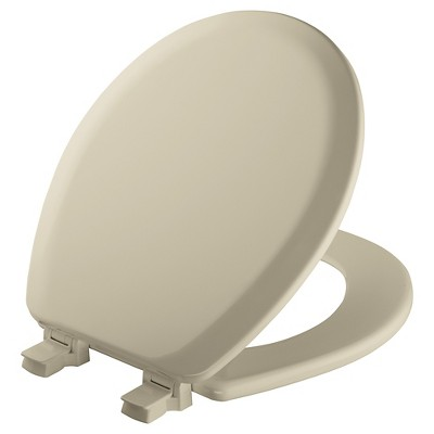 Round Molded Wood Toilet Seat with Seat Fastening System and Easy Clean & Change Hinge Bone - Mayfair