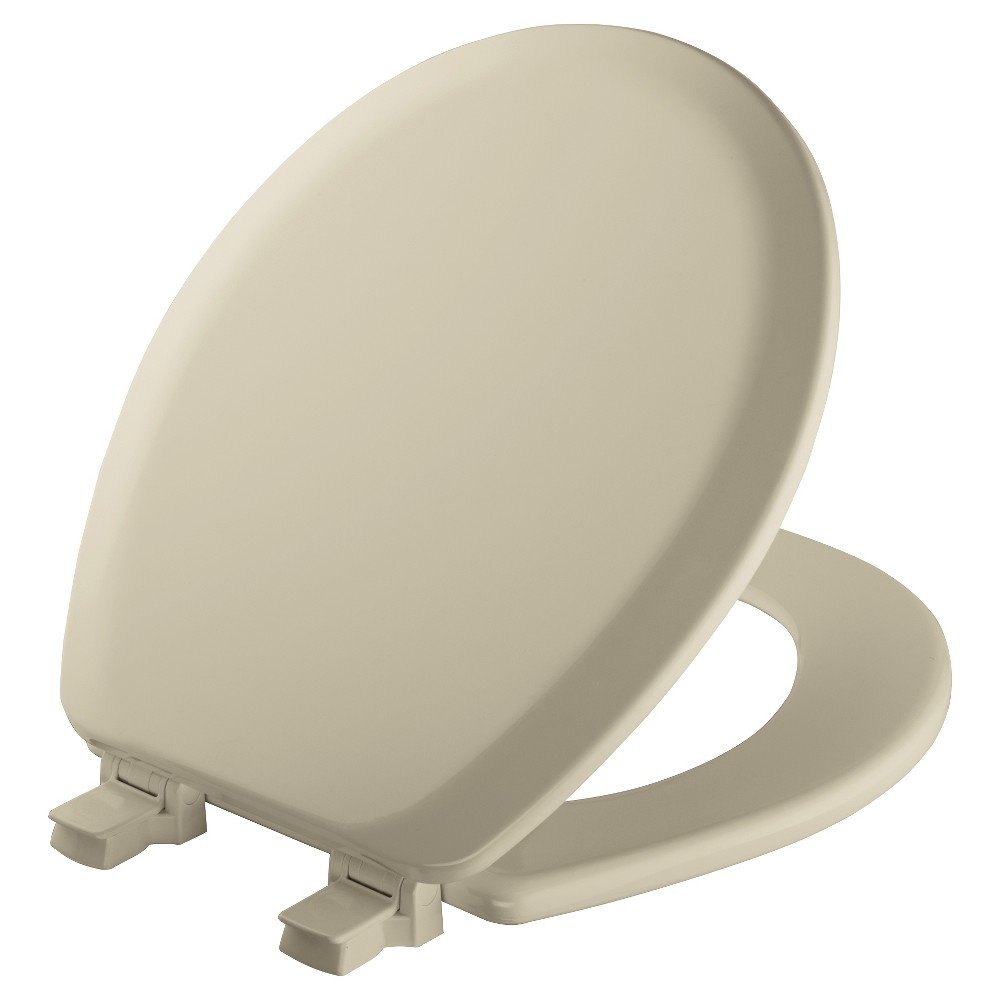 Image of Round Molded Wood Toilet Seat with Seat Fastening System and Easy Clean & Change Hinge Bone - Mayfair, Beige