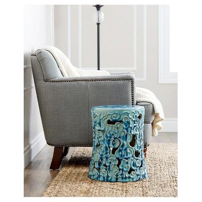 Osla Antique Teal Ceramic Garden Stool   Abbyson Living : Target