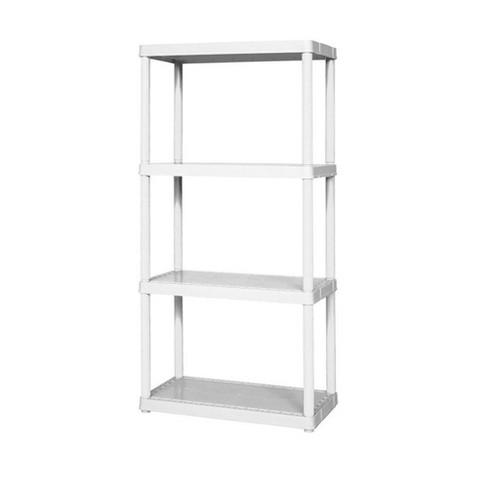 "Gracious Living 24"" x 12"" x 48"" 4-Shelf Tier Plastic Portable Multi-Purpose Light Duty Indoor Home Storage Organizer Shelves, White - image 1 of 4"