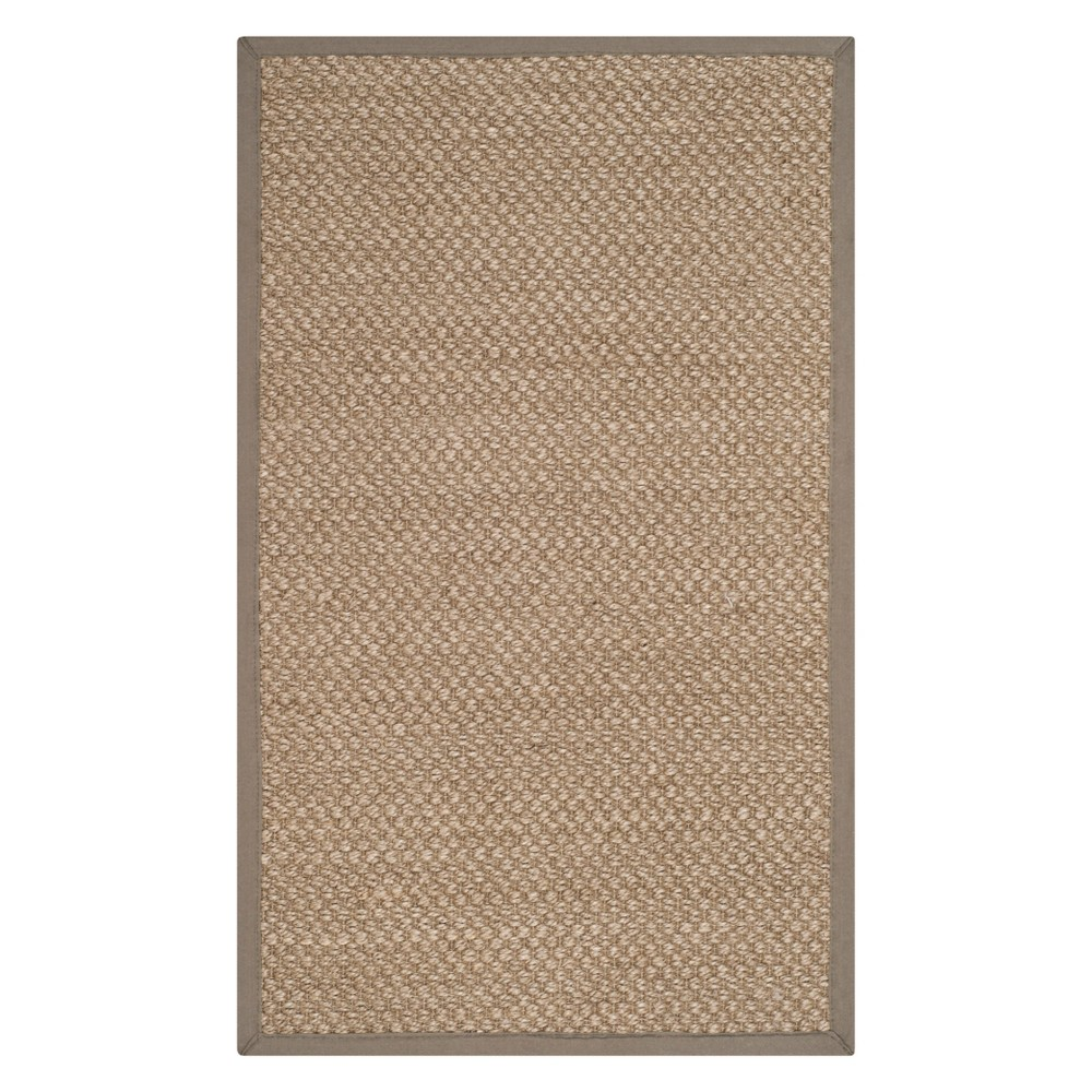 4'X6' Solid Loomed Area Rug Natural/Gray - Safavieh, White