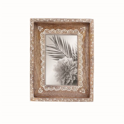 Natural Wood 4 x 6 inch Henna Pattern Decorative Wood Picture Frame - Foreside Home & Garden