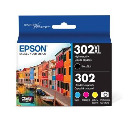 Epson 302XL 5pk Combo Ink Cartridges - Black Photo Black Cyan Magenta Yellow (T302XL-BCS)