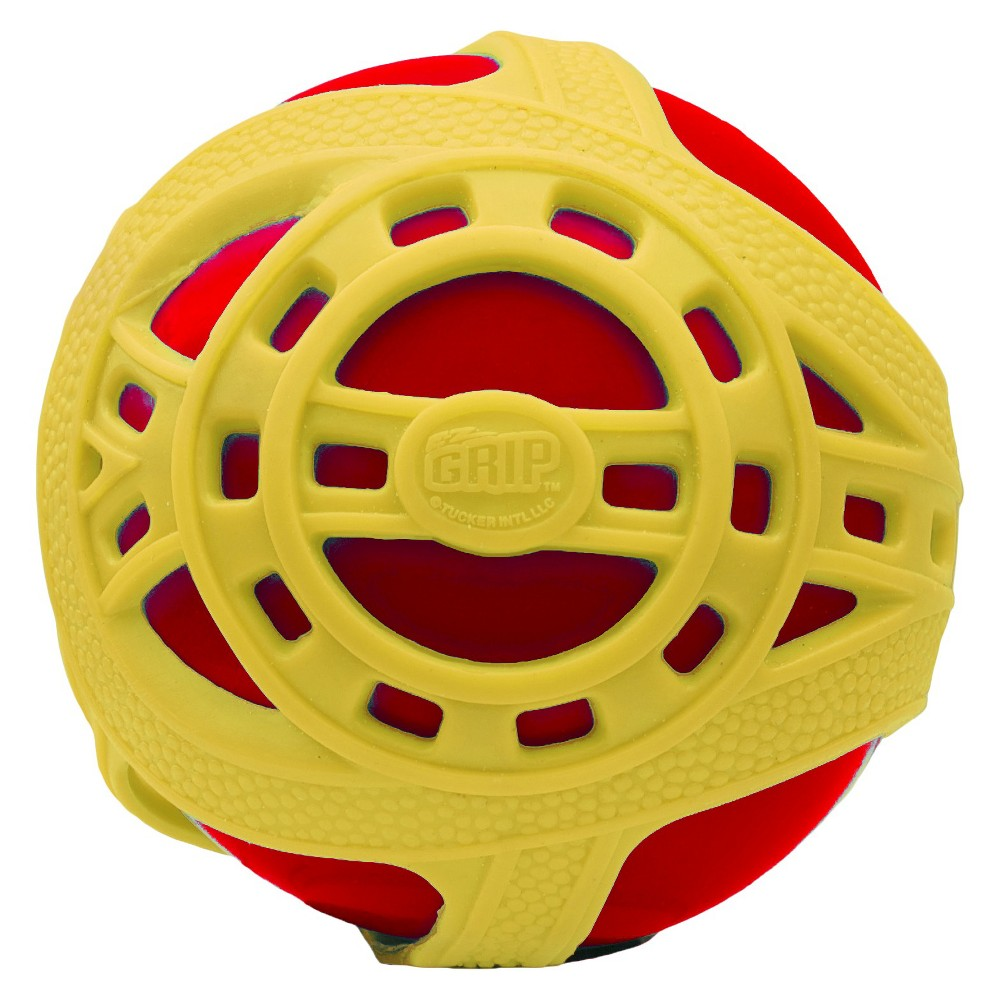 Tucker Toys Hand Ball Red Yellow High-bounce and a super grip is what you can expect with Tucker Toys Sports Ball - Tucker Toys. This toy is not only soft and durable, it is especially designed with an inflatable inner ball and a tough outer webbed layer for an amazing grip that aids in catching and throwing. Color: Red.