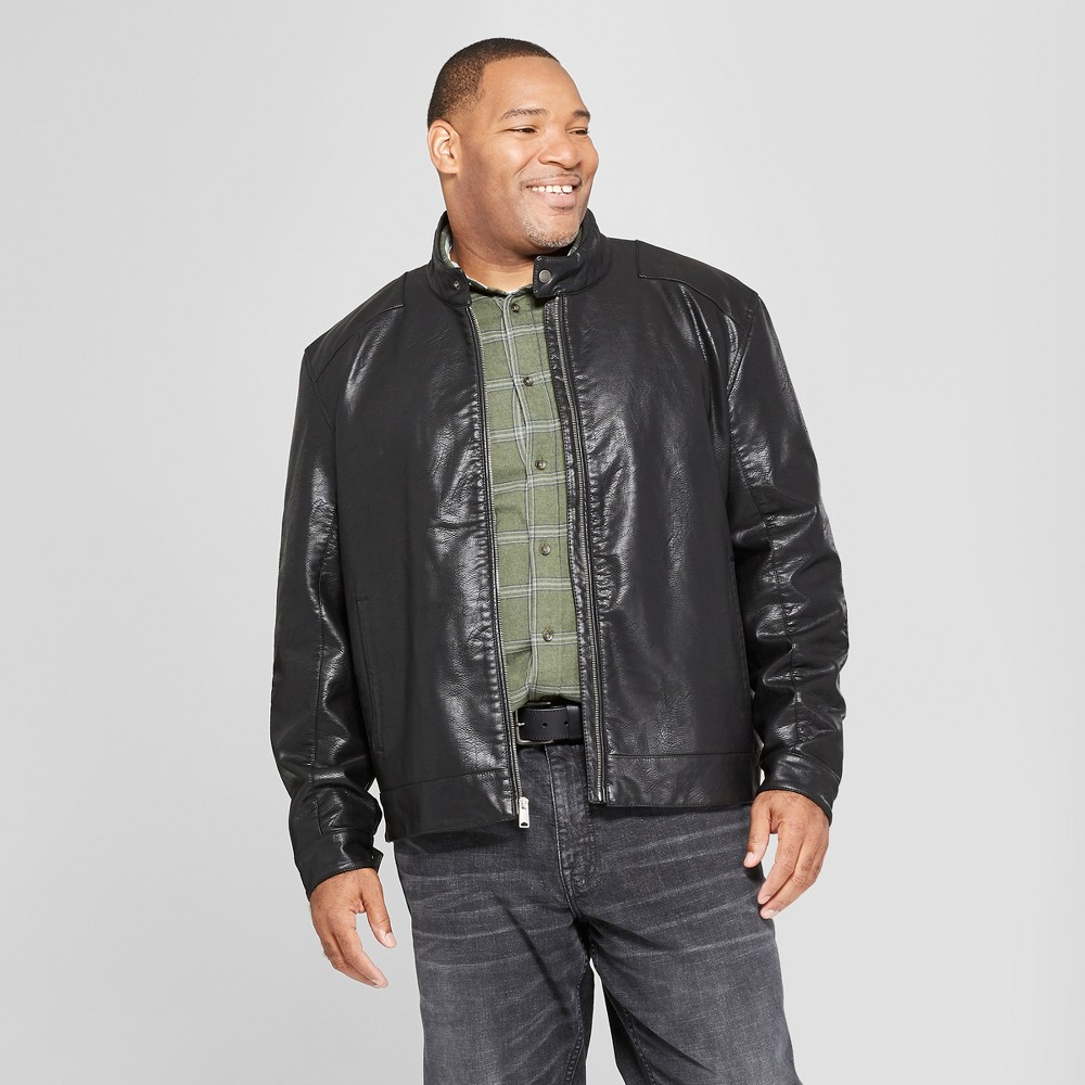 Men's Big & Tall Full Grain Zipper Front Moto Jacket - Goodfellow & Co Black 2XB