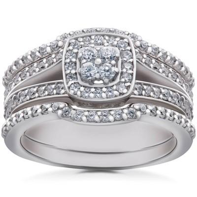 Pompeii3 1ct TDW Cushion Halo Diamond Trio Engagement Guard Wedding Ring Set Gold