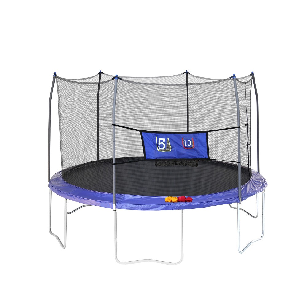 Skywalker Trampolines 12' Round Jump-N-Toss Trampoline with Enclosure - Blue, Multi-Colored