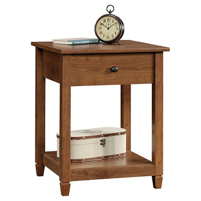 Merveilleux Edge Water Side Table With Drawer And Storage Shelf   Auburn Chery   Sauder