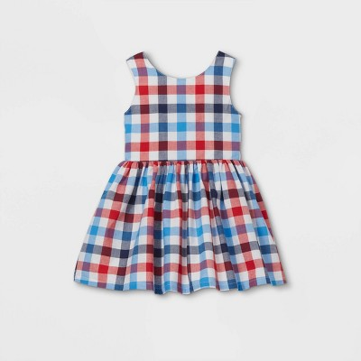 Toddler Girls' Gingham Dress - Cat & Jack™ Red/White/Blue