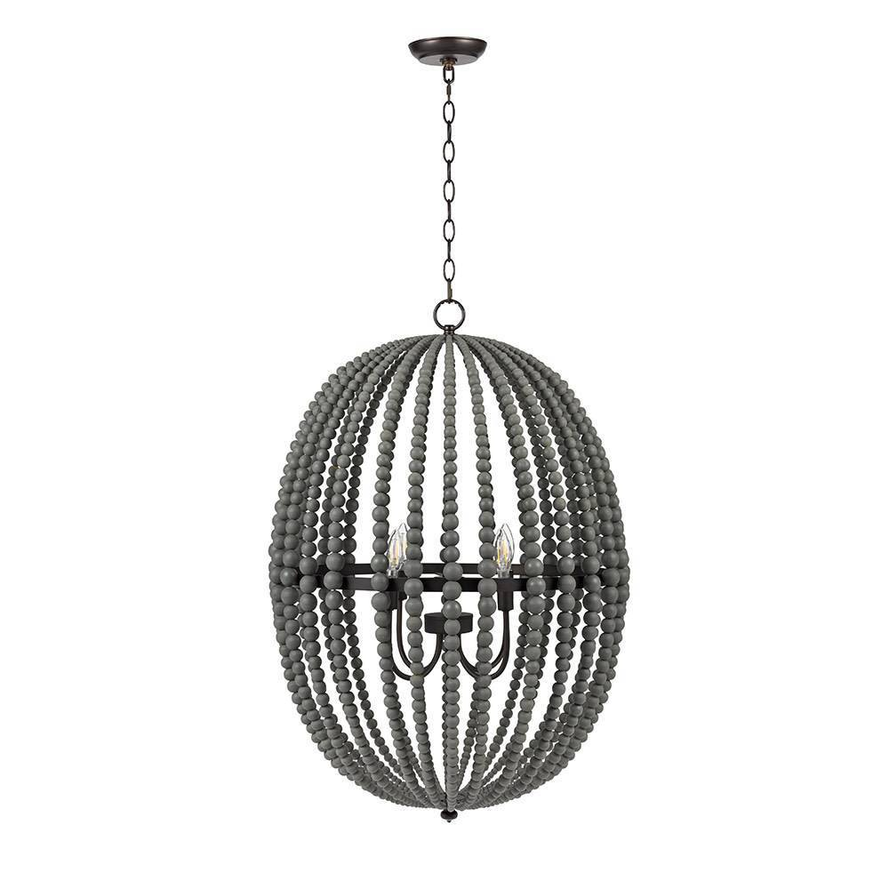 Image of Four Light Wood Bead Chandelier Gray - Cresswell Lighting