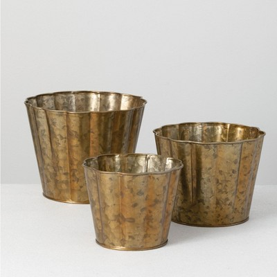 "Sullivans Set of 3 Flower Planters 6.5""H, 5.5""H & 5""H Brown"